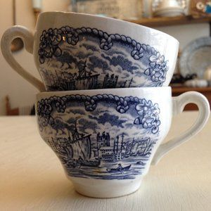 Vintage Historical Ports of England Coffee Cups